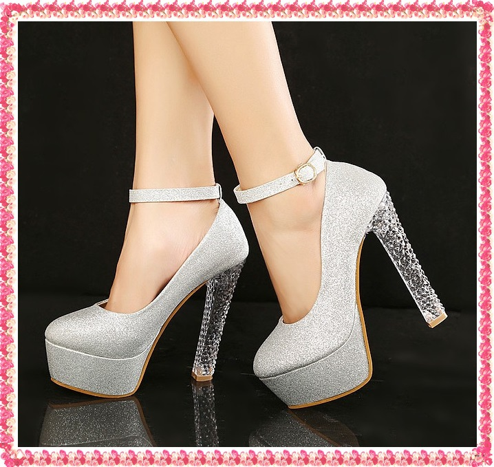 Free shipping wedding shoes woman 2014 platform pumps chunky Crystal ankle strap high heels fashion glitter belt evening Z180-inPumps from Shoes on Aliexpress.com
