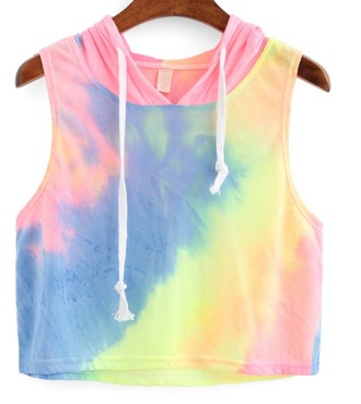 top girl girly girly wishlist sleeveless rainbow colorful crop crop tops cropped hoodie cropped hoodie