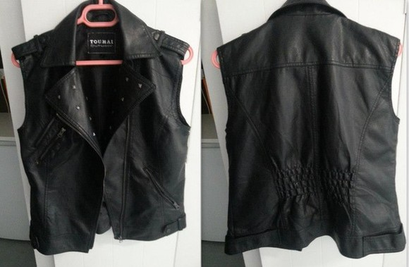 jacket perfecto leather black perfecto leather sleeveless sleeveless jacket girls rock clothes vintage