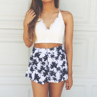 shorts cute shorts palm tree print black and white white crop tops