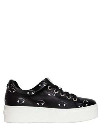 sneakers platform sneakers leather print black shoes
