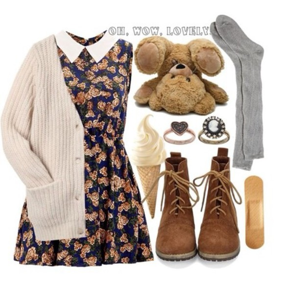 ankle boots cream color cartigan peter pan floral dress knee high socks ring jewels shoes boots