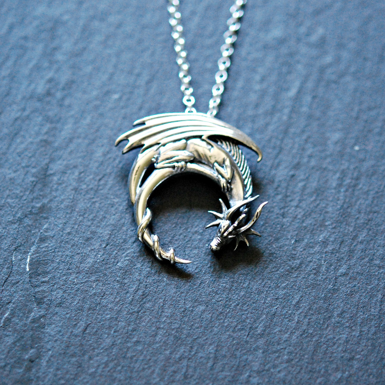 Sterling Silver Dragon Necklace Winged Dragon On Moon Pendant Goth