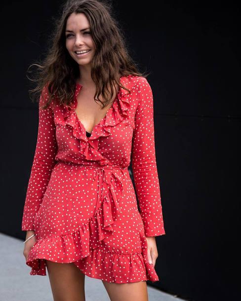 40639e23b0 dress realisation par dress red mini dress mini dress wrap dress long dress  long sleeves long