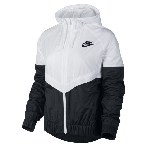 nike windrunner womens jacket windbreaker hoodie black white