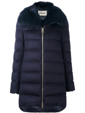 coat fur women blue silk