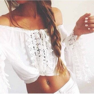 shirt shirt white shirtoopia flannel shirt boho shirt white shirt tumblr shirt white off the shoulder off-white sweater lace lace top cute cute outfits cute top blouse white blouse summer summer top summer outfits
