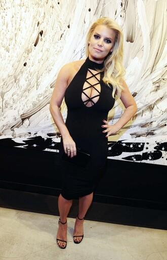 dress lace up black dress midi dress bodycon dress jessica simpson sandals