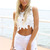 White Tank Top - White Floral Crochet Sleeveless Crop | UsTrendy