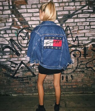 jacket tommy hilfiger denim denim jacket tumblr clothes