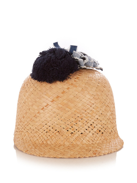 FEDERICA MORETTI Raffia pompom-embellished hat in beige / multi / beige