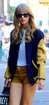 jacket,mustard,shorts,summer,pretty,preppy,hot,pearl,white top,taylor swift,varsity jacket