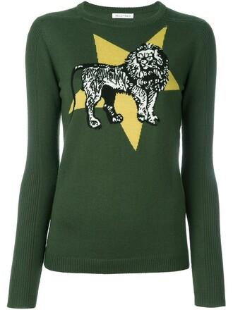 jumper lion women wool green sweater