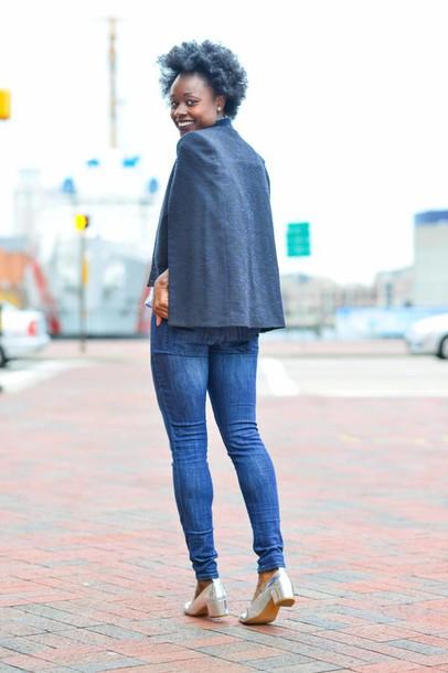 skinny hipster blogger denim cape make-up top jeans shoes