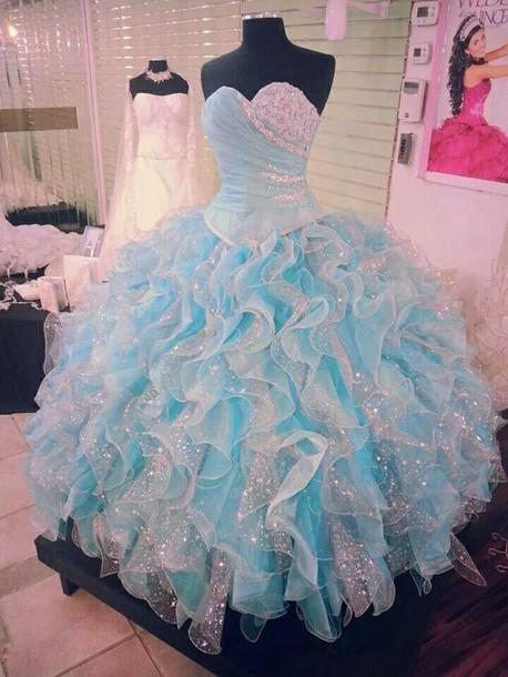 dress blue dress cinderella dress puffy