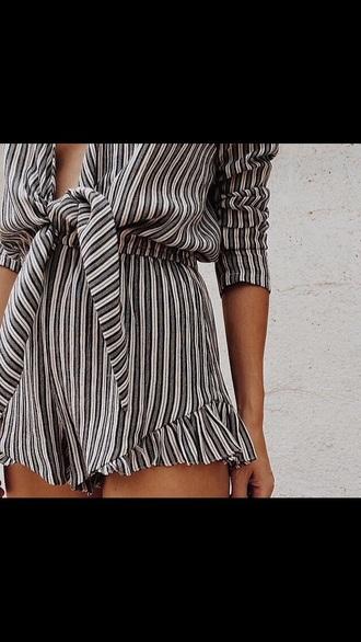 romper playsuit striped shorts bow fringe shorts deep v neck