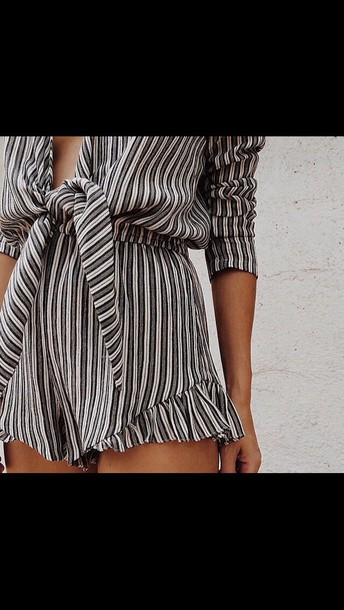 romper romper striped shorts bow fringes shorts plunge v neck