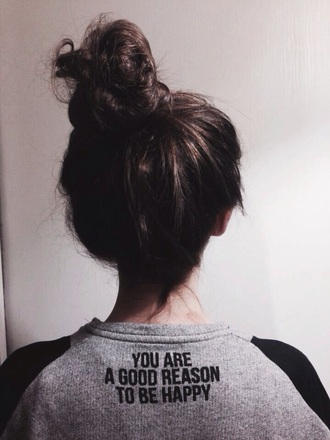 sweater happiness quote on it love reasons good warm sweater grey black white brunette cute greyscale love quotes cute sweaters