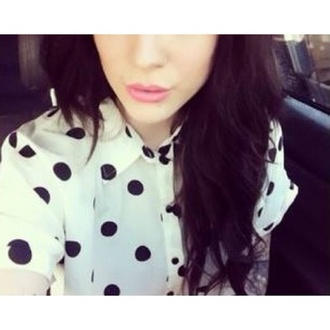 shirt black white polka dots blouse cute short sleeve print