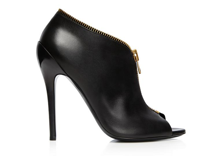 Leather zip trim ankle boot
