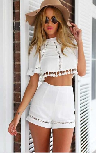 romper two-piece 2 piece outfit hat