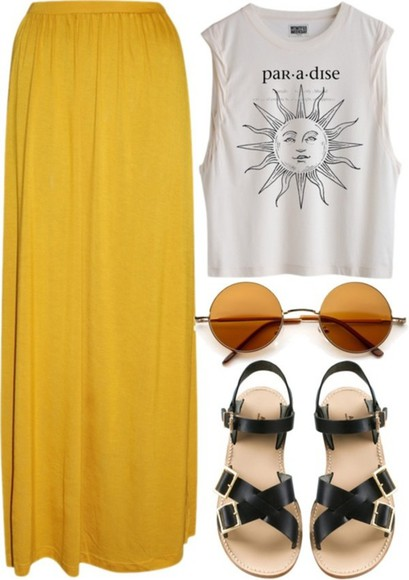 sunshine sun blouse maxy skirt yellow paradise top skirt shirt summer grunge hipster