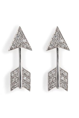 arrow diamonds earrings gold white silver jewels