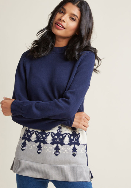 Mds1038 sweater pullover space navy knit blue