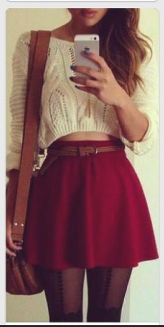 skirt red skirt lovely flare ??? top belt tights