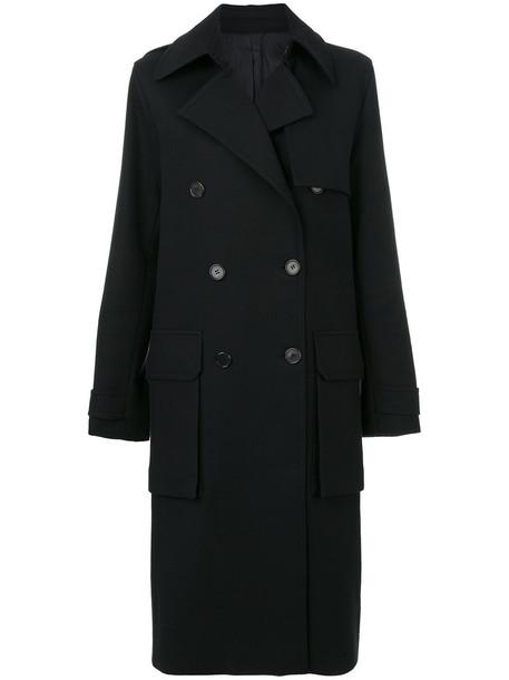 Juun.j coat double breasted women cotton black wool
