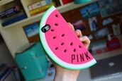bag,jewels,phone cover,phone,pink,watermelon print,food,fruits,victoria's secret,watermelon phonecase,pink by victorias secret