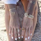 jewels,hipster jewelry,ring,bracelets,gold,metallic tattoo