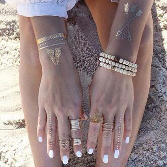 jewels hipster jewelry ring bracelets gold metallic tattoo