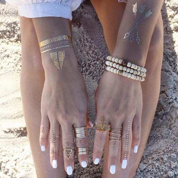 jewels hipster jewelry ring bracelets gold metallic tattoo