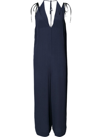 jumpsuit loose women fit blue silk