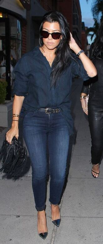 jeans pumps shirt sunglasses kourtney kardashian shoes bag purse
