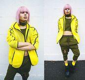 jacket,zaful,yellow,yellow coat,neon,army green,style,lookbook,dope,fashion,swag,streetstyle