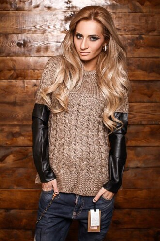 knitwear beige sweater knitted top cable knit