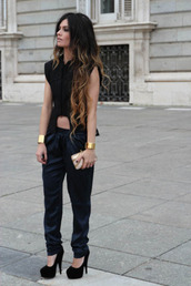 shirt,boho chic,black,baggy pants,leather,high heels,cute,streetwear,fashion,pants,tank top,shoes,cuffs,jewels
