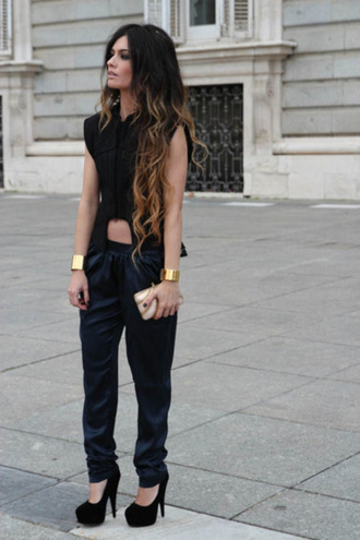 shirt boho chic black baggy pants leather high heels cute streetwear fashion pants tank top shoes cuffs jewels