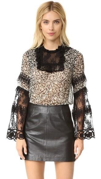 top lace top chiffon lace print black