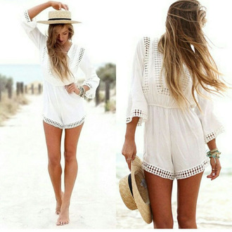 jumpsuit walking casual activitiesdancing beautiful jumpsuit girls's love walking & casual activities & dancing & party fashion show new arrival chiffon & lace white long dress white long sleeve v neck dress slim fit dress white ruffles ruffle halter dress white jumpsuit white bohemian boho chic boho summer outfits summer beige beach beach party