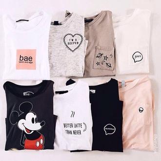 shirt bae space alien pink white black peach heart brown t-shirt food disney coffee
