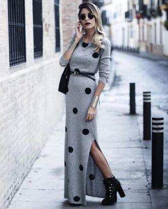 dress tumblr sweater dress maxi dress polka dots slit dress grey dress belt boots ankle boots black boots high heels boots platform boots sunglasses