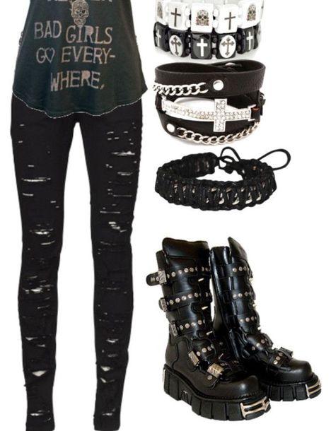 28058697a0e shoes punk goth combat boots jewels jeans shirt black jeans skinny jeans  rock emo punk rock