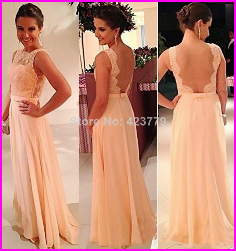 Aliexpress.com : Buy Free Shipping 2014 Sheer Lace Top Evening Gowns Sexy Open Back Sleeveless Long Chiffon Prom Dress BO3396 from Reliable dress dog suppliers on 27 Dress
