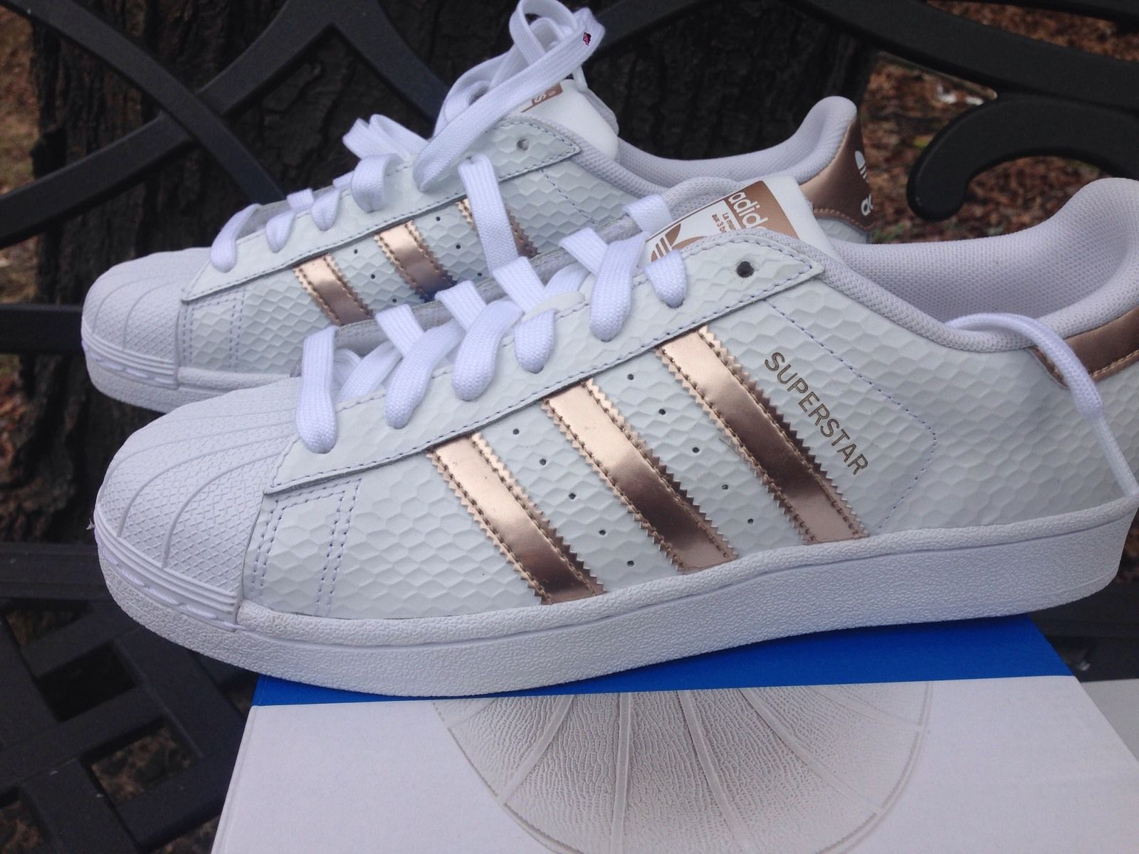 finest selection e9c30 cd298 shoes, adidas superstars, white sneakers, low top sneakers, gold -  Wheretoget
