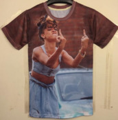 top,rihanna,middle finger,3d,shirt,all over print,t-shirt,summer,fancy,funny,cool,nice