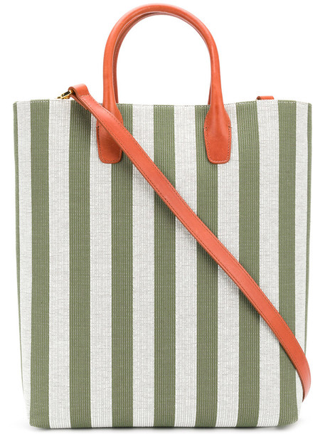 Mansur Gavriel - striped shopper tote - women - Leather/Cotton - One Size, Green, Leather/Cotton