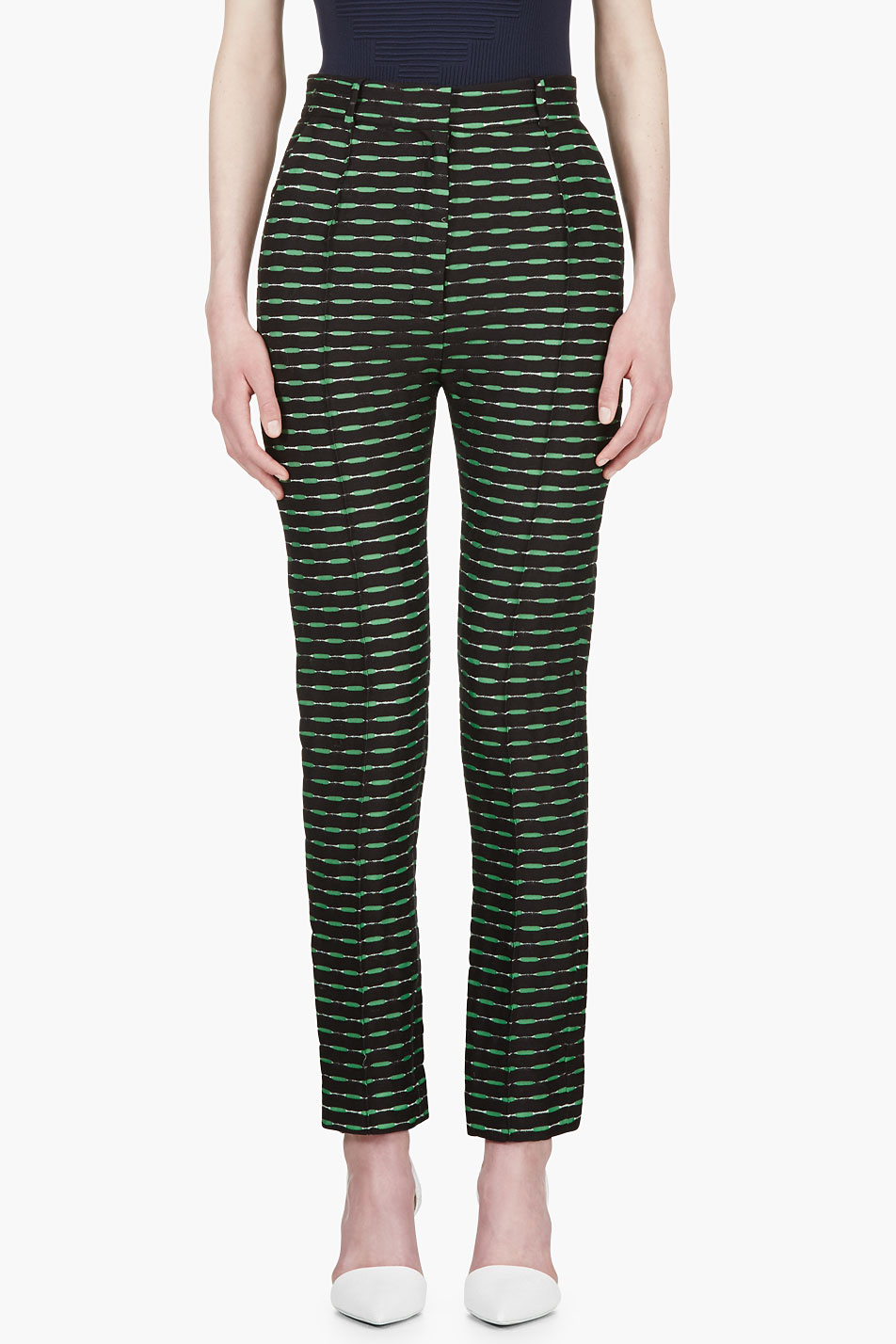 jonathan saunders green and black jacquard celeste trousers
